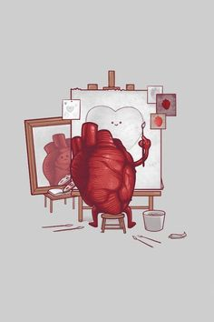 Real heart painting fake heart