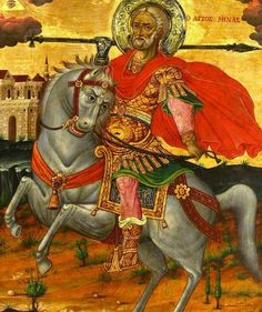 Detailed view: Saint Menas- exhibited at the Temple Gallery, specialists in Russian icons Byzantine Icons, Byzantine Art, Religious Icons, Religious Art, Russian Icons, Religious Paintings, Orthodox Icons, Saint George, Sacred Art