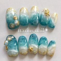 DIY nail art which look gorgeous! DIY nail art which look gorgeous! Nail Art Vernis, Gel Nail Art, Nail Art Diy, Cute Nail Art, Nail Nail, Beach Nail Designs, Diy Nail Designs, Seashell Nails, Sea Nails