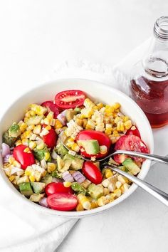 """""""Looking for the perfect summer salad or side dish for your next BBQ? Look no further! This Avocado Corn salad is the winning dish. With all the flavors of summer, this salad is sure to please any crowd. In all honesty, you're going to want to make this all summer long, not just for those Fourth of July BBQs or family picnics or outdoor summer potlucks. This corn salad is easy, fresh, captures the essence of some of the season's best produce and, of course, tastes delicious. The ingred"""