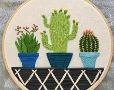 """Hand Embroidered Plant Succulent hoop -""""Succulent Trio"""" - Home: Living color Cactus Embroidery, Flower Embroidery Designs, Hand Embroidery Stitches, Modern Embroidery, Embroidery Hoop Art, Embroidery Techniques, Cross Stitch Embroidery, Couture, Crochet"""
