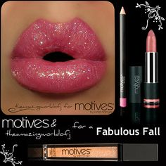 Love this gorgeous Barbie Pink glittery lippie! Motives Glam Lipshine, Cotton Candy lip pencil and Pink Champagne Rich Lipstick