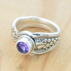 Spoon Ring with Amethyst and Grapes Upcycled by metalsmitten, $80.00