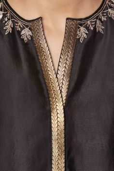 Black silk tunic with pants - Clothing Salwar Kameez Neck Designs, Silk Kurti Designs, Kurta Neck Design, Kurta Designs Women, Kurti Designs Party Wear, Fancy Dress Design, Stylish Dress Designs, Designs For Dresses, Stylish Dresses