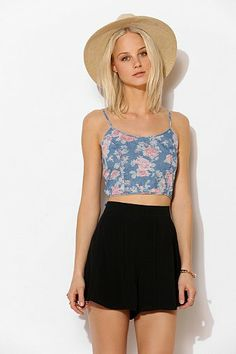 BDG Allover Print Chambray Cropped Tank Top