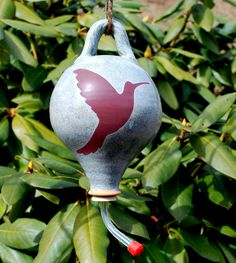 Your place to buy and sell all things handmade Pottery Place, Humming Bird Feeders, Stoneware Clay, Hummingbird, Christmas Bulbs, Birds, Ceramics, Holiday Decor, Blue