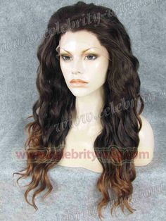 Celebrity top fashion long style finger wave synthetic lace front ombre wig