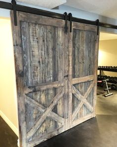 Image result for barn door to home gym