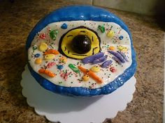 """an edible animal cell model made out of rice krispy treats and fondant - wow! from """"crazy about cakes"""""""