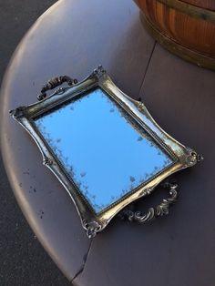 """Distressed Silver"" Mirror Tray L 32 cms W 19 cms"