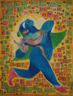 Krishna for today. Krishna Leela series. Oil on canvas.