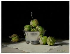 Tomatillos in a Silver Bowl by Berry Fritz Oil ~ 11 x 14
