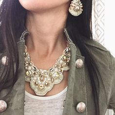 Pair our Jolie Statement Necklace + Jolie Statement Earrings for a show-stopping look!