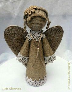 Rustic Christmas, Christmas Crafts, Christmas Decorations, Christmas Ornaments, Kids Crafts, Diy Arts And Crafts, Twine Crafts, Rope Art, Angel Crafts