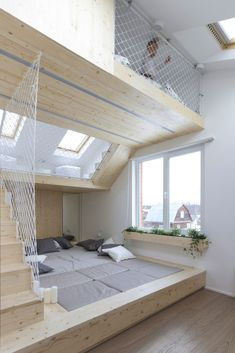 Fun family house in Moscow with hammock floors - deco .- Fun Family House in Moscow with Hammock Floors – Decoration Data - Home Design, Home Interior Design, Design Ideas, Room Interior, Interior Modern, Interior Ideas, Interior Painting, Interior Colors, Modern Interiors