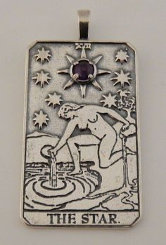 Star Tarot Card Pendant Sterling Silver - For Hope, Truth, and Blessings with choice of genuine AAA quality gemstone. Handcrafted in the USA. Love this one with Amethyst!