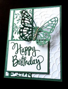 """Watercooler Wednesday: - Helen's Feminine """"Anything Goes"""" Challenge Birthday Cards For Women, Happy Birthday Cards, Female Birthday Cards, 32 Birthday, Homemade Birthday Cards, Homemade Cards, Cumpleaños Diy, Butterfly Birthday Cards, Embossed Cards"""