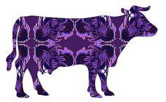whimsical cow painting art cow print 8x10 PSYCHO by artkunzelman, $17.00