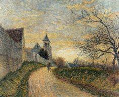 Léo Gausson (French, - The Church at Conches-sur-Gondorie, 1887 A4 Poster, Poster Prints, Leo, Kirkenes, Pointillism, Vintage Artwork, Dot Painting, Urban Landscape, Conch