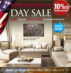 10% OFF #sale ! on #metal #wall #art#Independence Day