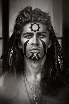 Shaman; this is somewhat how I see Herne-Cernunnos' face when he assumes human form.