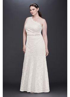 Scalloped One-Shoulder Lace Plus Size Gown 183668DBW