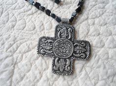 Mens Necklace Black Silver Cross Pendant Hippie by LandofBridget