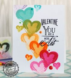 Rainbow Hearts Card by Betsy Veldman for Papertrey Ink (December 2014)