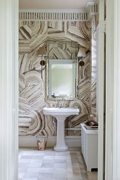 Agate Wallpaper in a white bathroom