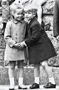 Cute cousins: Prince Edward greets Lady Sarah Armstrong-Jones, who is two months younger than him, in Scotland in 1969. ~ Photo via mirrorpix.