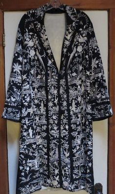 bba675c7d273 RESERVED Installment  1 -- 1920s Antique Chinese embroidered robe long silk  bird flower butterfly Vintage jacket coat
