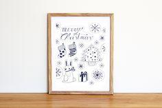 Illustrazione natalizia da scaricare subito con coniglietto, albero di Natale, regali, calze da appendere, fiocchi di neve e scritta a mano di IlluminoHomeIdeas su Etsy