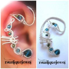 Wire Wrapped Blue Glass Ear Cuff Cartilage by rsuniquejewel