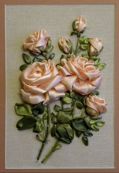 Gallery.ru / Фото #29 - Розы - Fyyfvbwrtdbx1957 Ribbon Embroidery Tutorial, Silk Ribbon Embroidery, Embroidery Stitches, Embroidery Patterns, Hand Embroidery, Diy Ribbon Flowers, Ribbon Art, Ribbon Crafts, Acrylic Painting Inspiration