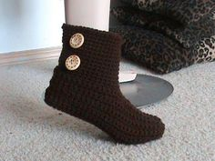 Crocheted Bootie Slipper Video Tutorial For Beginners.... Super easy! This is the second part to the other video I pinned, watch how to make the slippers first, then you can make those slippers into booties! http://www.youtube.com/watch?v=khsmwkyfr6U