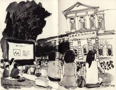 Urban Sketchers: Open air movie screening at National Museum of Singapore