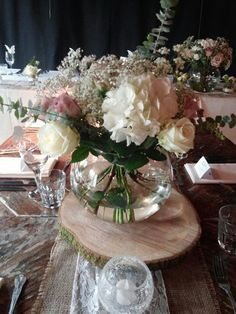 Hand tie in a fish bowl in vintage tone roses, hydrangea and gyp. The Garden Studio www.gardenstudioevents.co.uk Find us on Facebook!