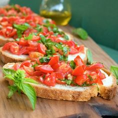 Bruschetta al pomodoro, or bruschetta with tomatoes and basil, is a classic Italian starter for any meal. Garlic lovers will adore this appetizer.