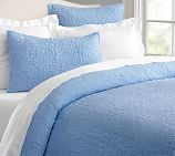 Belgian Flax Linen Floral Stitch Quilt, Full/Queen, French Blue