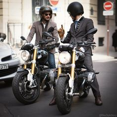 """"""" """"Remember, happiness is a way of travel, not a destination."""" @MarcyDeSoultrait on a @BMWmotorrad_france and wearing @vicomteA  #BMWFashionRide #RnineT…"""""""