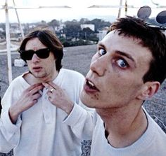 Shaun Ryder and Mark Berry at Hotel's roof, 1990
