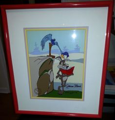 """Road Runner Recipes"" starring Road Runner and Wile E. Coyote Cartoon Animation Cel Signed by late cartoonist animator Chuck Jones Ltd Ed 1987 #77/200 for sale at my eBay store Treasuresinmyhome"