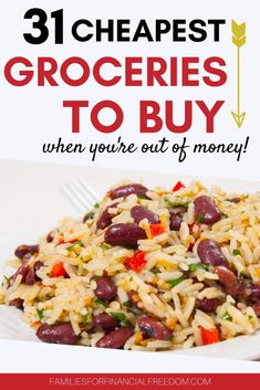 Find great cheap foods to make cheap meals! Get cheap food ideas to slash your groceries budget! Find the best ideas for a cheap groceries list! Frugal food ideas for cheap dinners! Find cheap foods to make cheap, easy meals! Cheap food ideas for shopping lists. #cheapfood #cheapmeals #cheapmealsonabudget #cheapmealsprep #cheapdinners #savemoney #savemoneyongroceries #savemoneyonfood #budgeting #savingmoney Frugal Meals, Budget Meals, Groceries Budget, Easy Meals, Cheap Grocery List, Best Vegetarian Recipes, Money Saving Meals, Cheap Dinners, Frugal Living