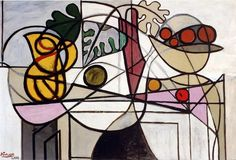 Pitcher, Bowl of Fruit and Leaves by Pablo Picasso