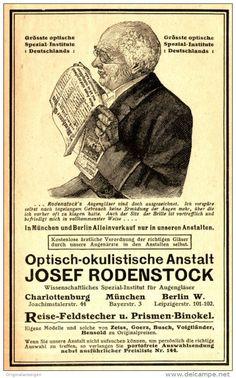 Original-Werbung/ Anzeige 1910 - OPTISCH - OKULISTISCHE ANSTALT HOSEF RODENSTOCK…