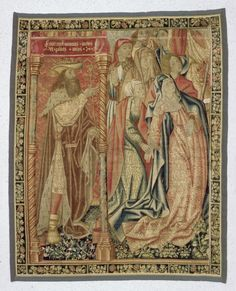 Fragment of a Crucifixion with St. Sebald Chorbehanges from group, c. 1500, Materials / Techniques: Knitting, Warp: wool dyed, weft: wool, silk, multiple colors, metallic thread, silver color, the left and bottom Originalbordüre, this split before 1920 along and added half-width on the right and at the top, verge renewed tape originally at the foot of King David, warp density 6-8 fibers / cm, Dimensions: H 254 cm, 202 cm B.