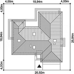 Usytuowanie projektu Padme 2 na działce Divider, Floor Plans, Furniture, Houses, Home Decor, Two Story Houses, Homes, Decoration Home, Room Decor