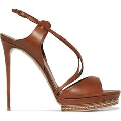 Casadei Leather sandals (1 455 PLN) ❤ liked on Polyvore featuring shoes, sandals, brown, strappy sandals, high heel platform sandals, brown leather shoes, slingback sandals and leather sandals