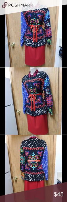 80'S Vintage! Majestic Multicolored Blouse W/Belt This blouse is really cute and adorable. Soft and comfy material. Belt included. Loose style. Gorgeous colors and exclusive design. Size 14W - Save $$$ on bundles. Tops Blouses