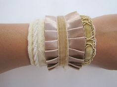 Victorian Lace and Ruffles Cuff Bracelet Tutorial {NO sew} - craft - Little Miss Momma